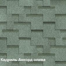 Однослойная битумная черепица Шинглас Кадриль Аккорд олива