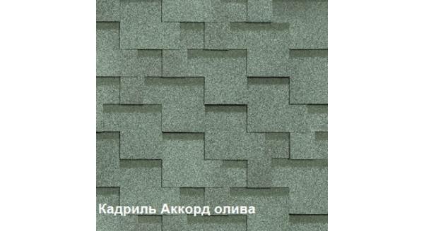 Однослойная битумная черепица Шинглас Кадриль Аккорд олива купить в Запорожье