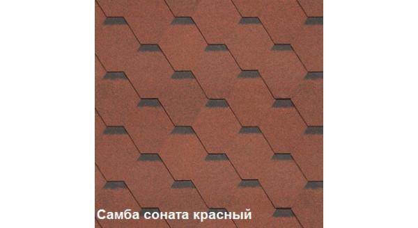Однослойная битумная черепица Шинглас Самба Соната красный купить в Запорожье